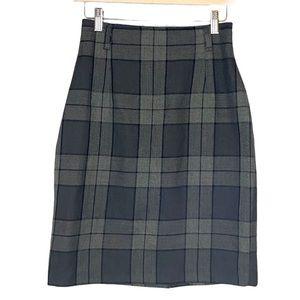 Vintage Plaid knee length back zip skirt